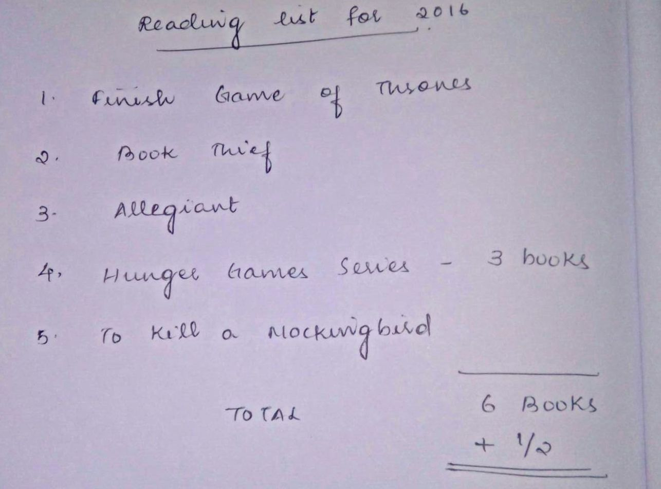 Prepare a list of books you want to read