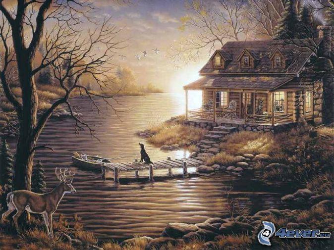 cottage,-river,-doe,-pier,-boat,-dog,-thomas-kinkade-151329