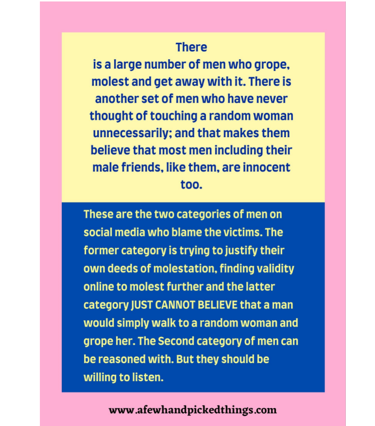 To Men Who Don't Believe That Most Women Are Groped or Molested.